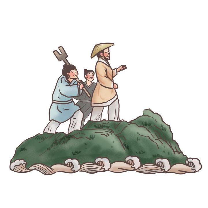 大禹治水中国传统神话人物传说故事手绘彩色插图图片免抠png素材 教育文化-第1张