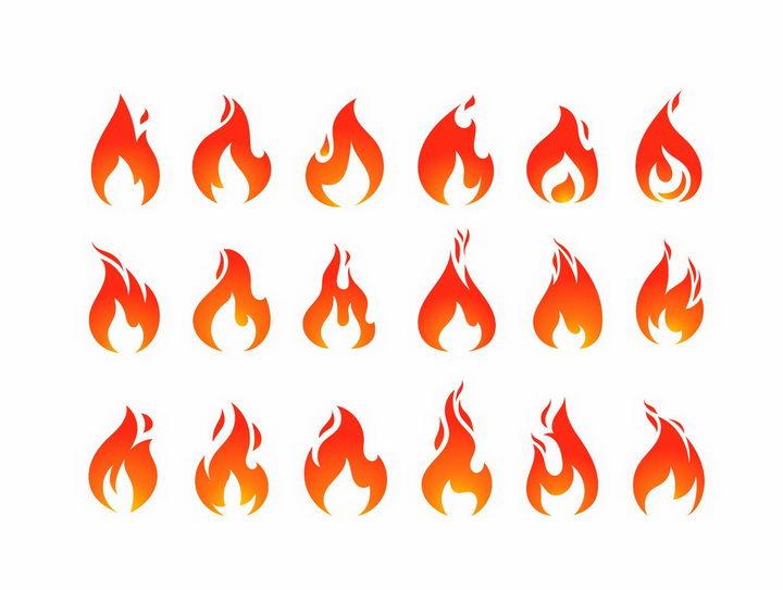 18款渐变色火焰火苗图案图片png免抠素材 线条形状-第1张