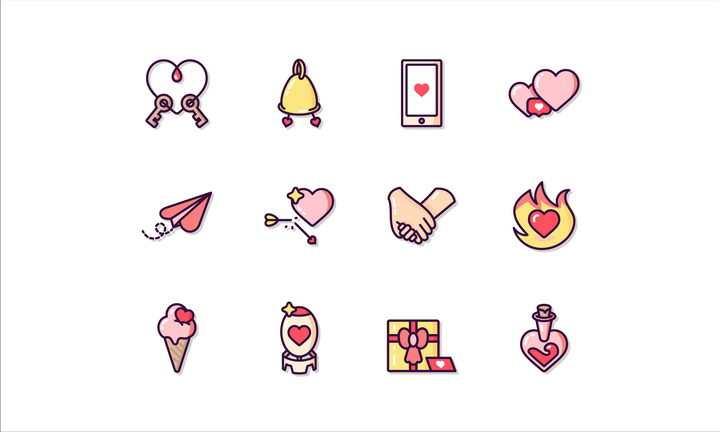 12款高光风格情人节恋爱图标图片免抠矢量素材