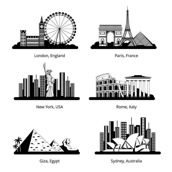黑白色风格伦敦巴黎纽约罗马埃及和悉尼等城市世界知名旅游景点图片免抠矢量素材