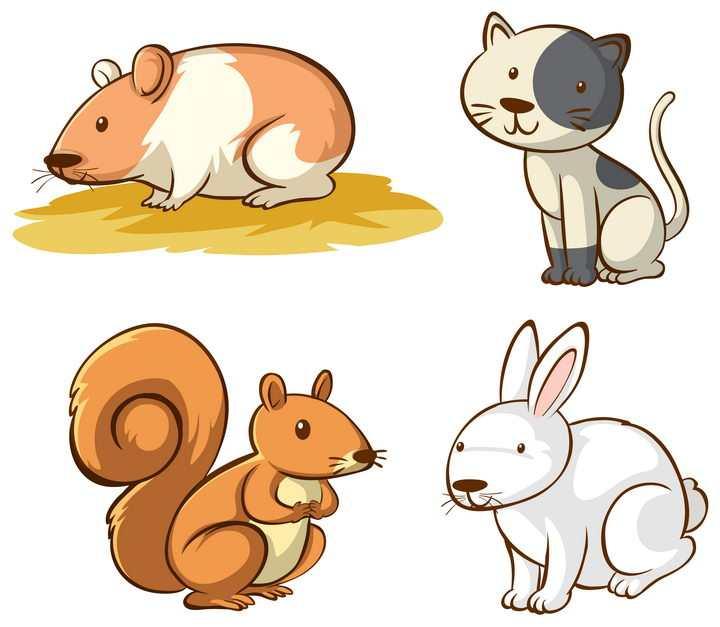 可爱仓鼠猫咪松鼠和兔子等卡通宠物图片免抠矢量素材
