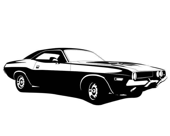 黑白画风格复古小汽车肌肉车免抠矢量图素材