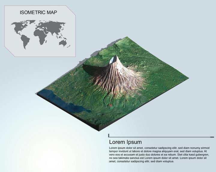 地理地质高耸的火山地形地貌PS 3D模型图片样机模板