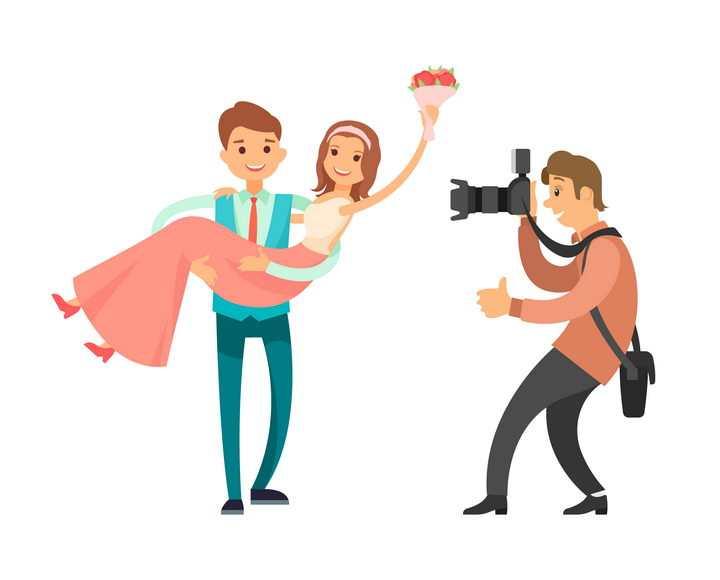 扁平插画风格抱着妻子的丈夫正在被摄影师拍照图片免抠矢量素材