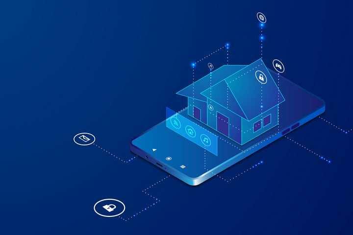 蓝色科技效果手机上的房子智能家居图片免抠矢量素材