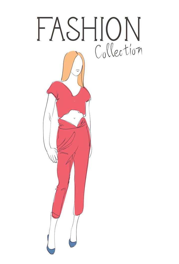 彩色上色手绘风格时尚露脐装红色女装职场女性高跟鞋时装设计草图图片免抠矢量素材