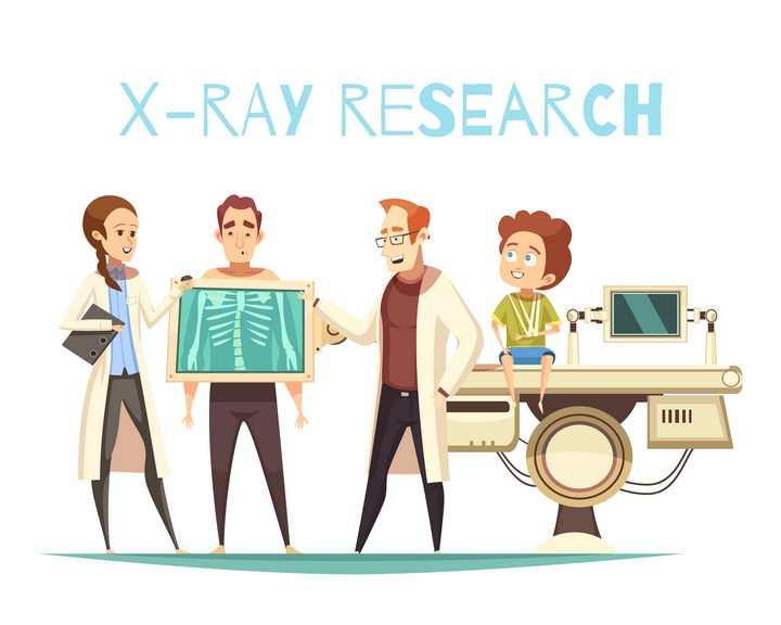 卡通漫画风格医生在为病人用X光检查身体图片免抠矢量素材