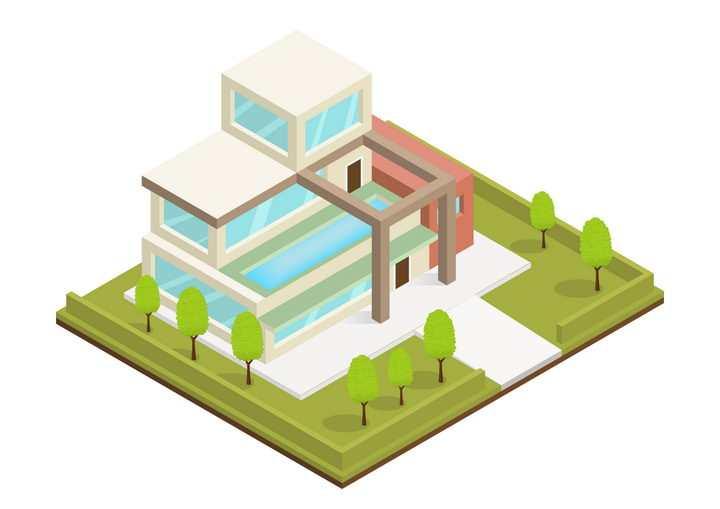 卡通风格别墅城市建筑图片免抠矢量图素材
