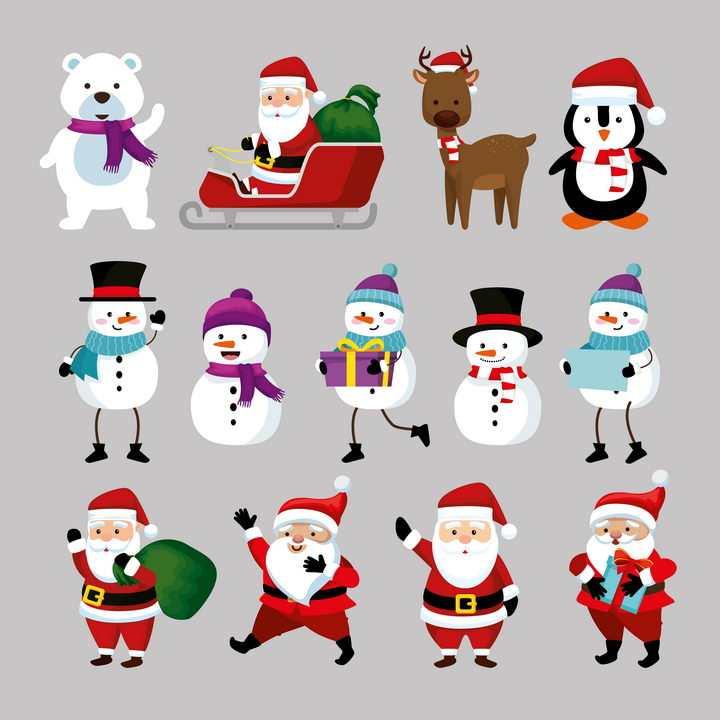 卡通风格圣诞节雪人圣诞老人麋鹿等图片免抠素材
