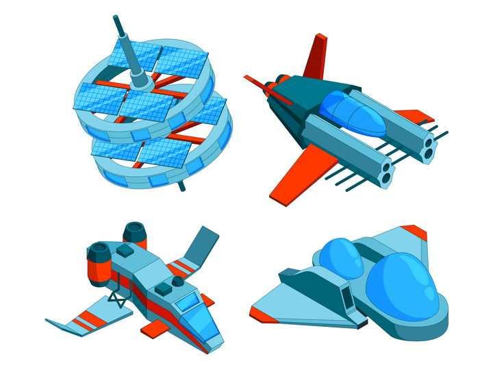 2.5D科幻风格的宇宙飞船运输船图片免抠矢量素材