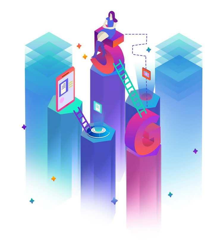 创意立方柱上的5G通信技术图片免抠png素材