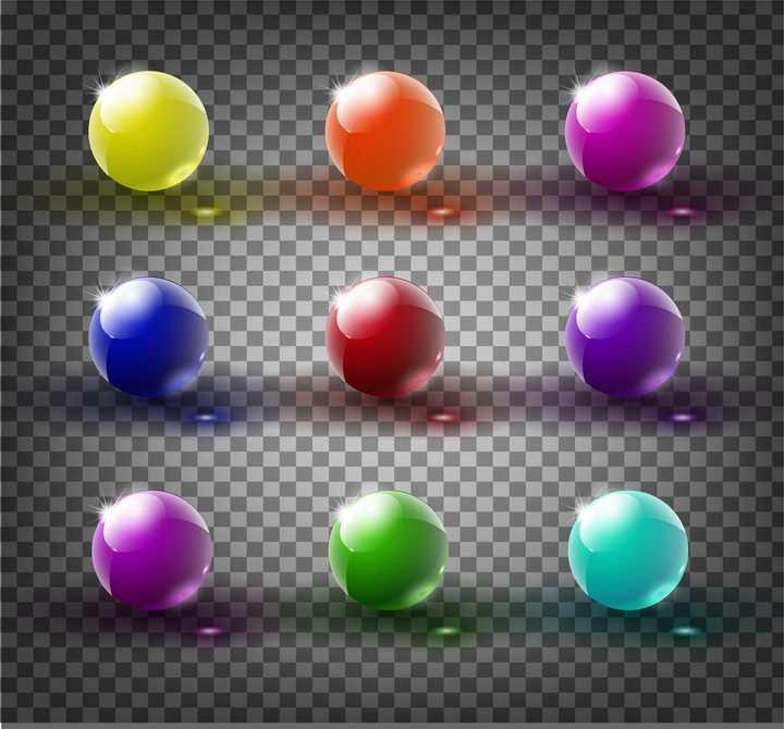 9款逼真的透光的彩色玻璃球图片免抠矢量素材