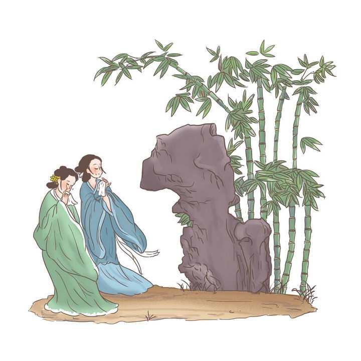 娥皇女英中国传统神话人物传说故事手绘彩色插图图片免抠png素材