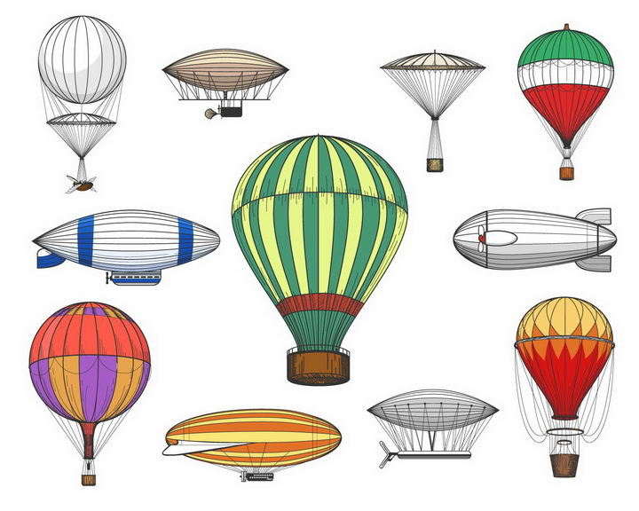 各种手绘风格热气球飞艇图片png免抠素材
