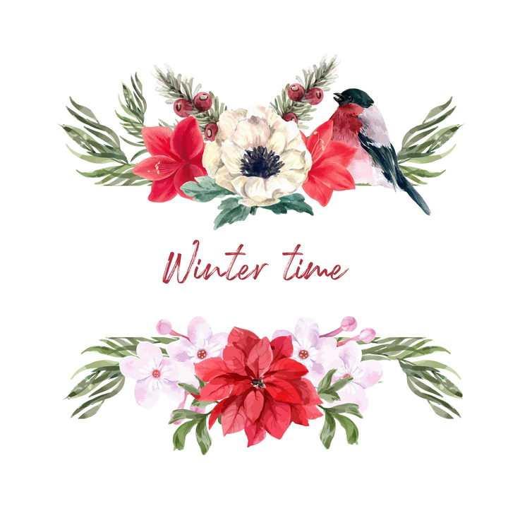水彩画风格白色和红色花朵装饰还有小鸟图片免抠矢量素材