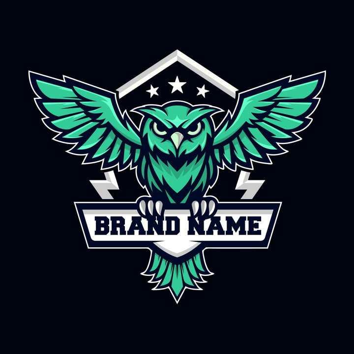 绿色猫头鹰logo设计方案图片免抠矢量图素材