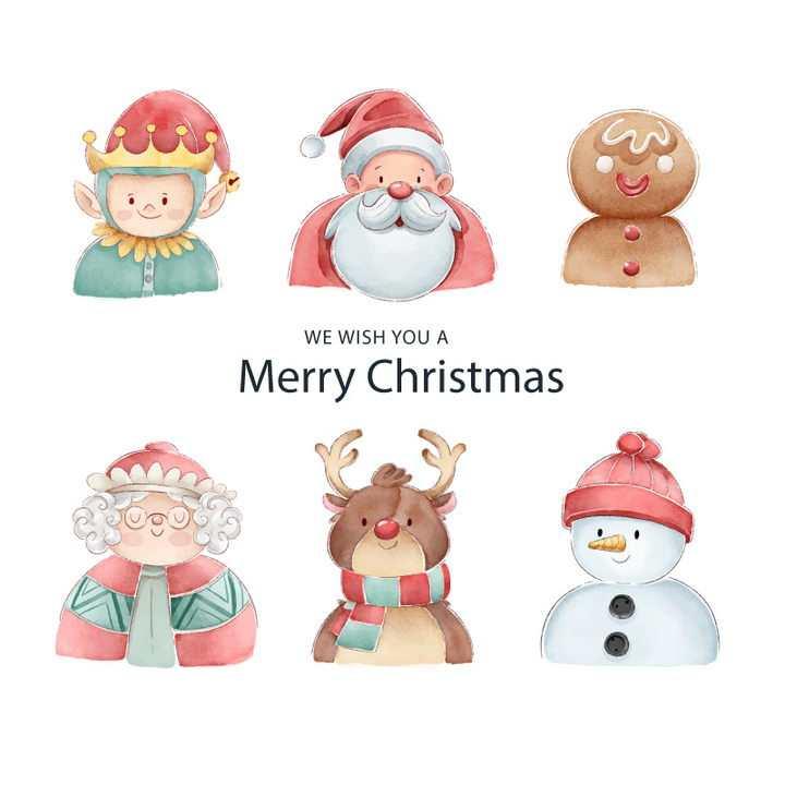 6款手绘插画风格圣诞节卡通圣诞老人圣诞人物图片免抠矢量素材
