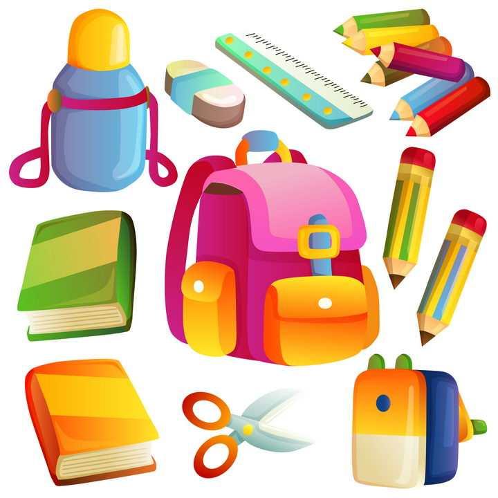 卡通风格水壶书包直尺铅笔书本等儿童学习用品图片免抠矢量素材