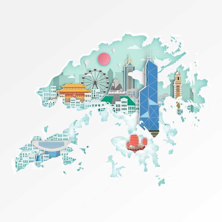 淡绿色香港旅游地图图片免抠矢量图素材