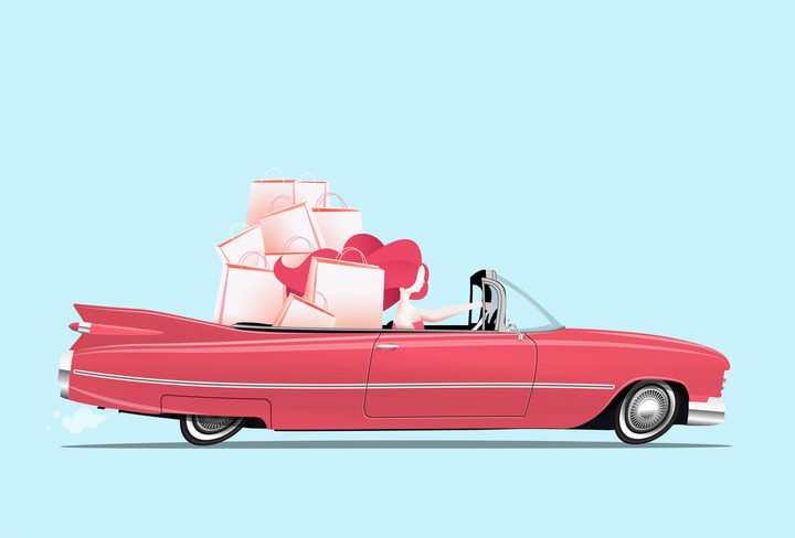 红色卡通敞篷跑车汽车上购物的美女免抠矢量图素材
