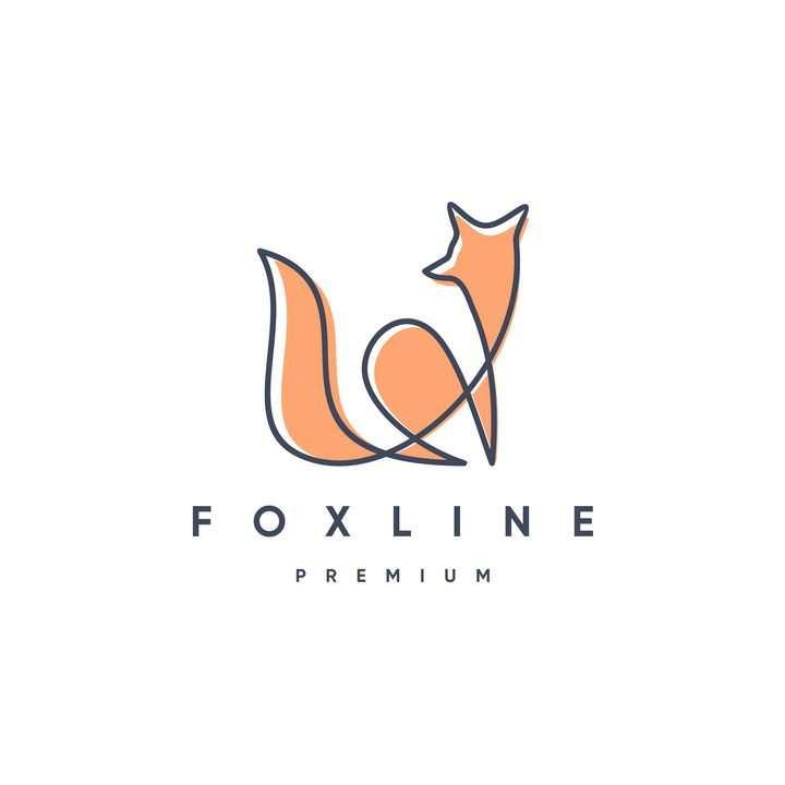 简约线条色块组成的狐狸LOGO设计方案图片免抠矢量素材