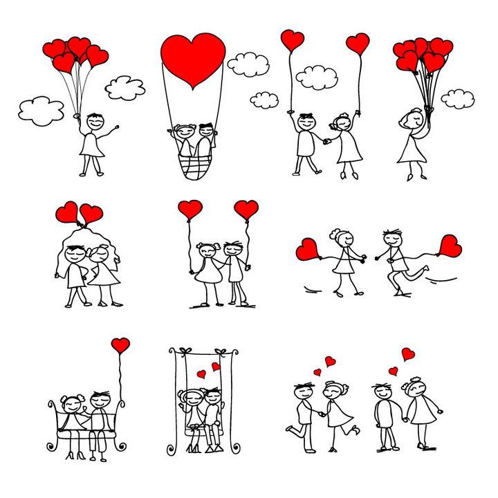 10款卡通线条小人情侣牵着红心气球情人节配图图片免抠矢量素材 简笔画-第1张