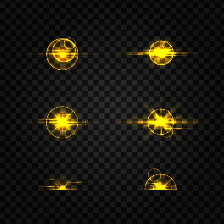 6款发光金色光晕效果图片免抠矢量图素材