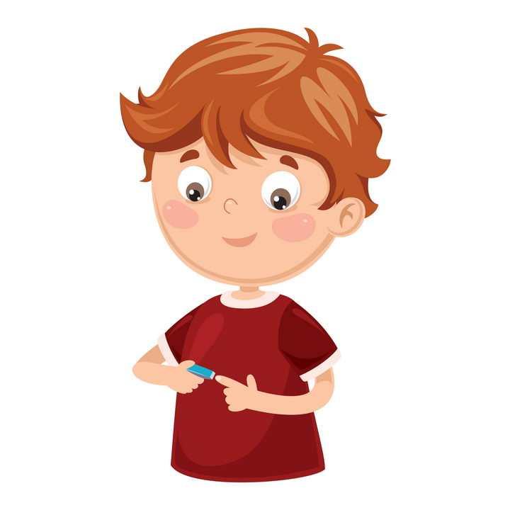 正在用指甲钳指甲剪修剪指甲的卡通男孩图片免抠矢量素材