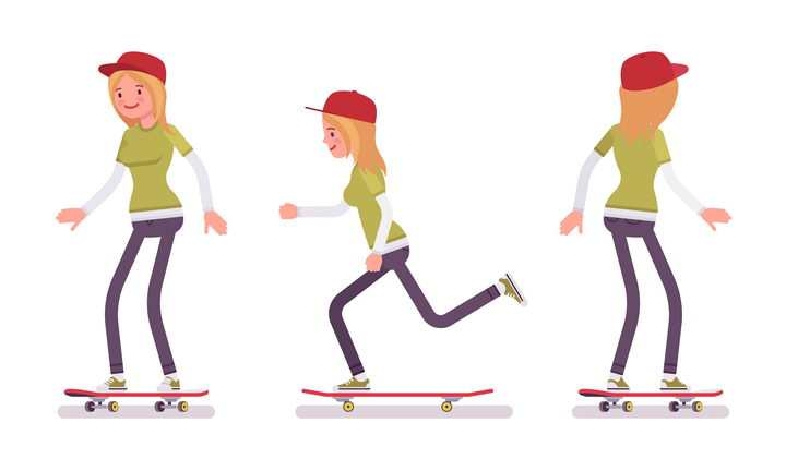 3款正在玩滑板的卡通女孩图片免抠矢量素材