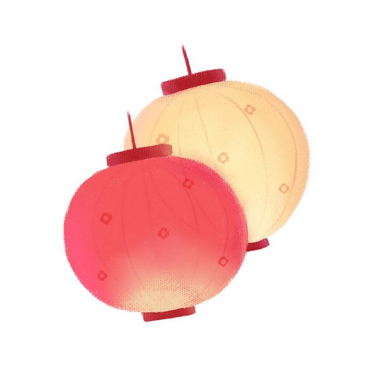 两款红色和黄色的手绘灯笼图片免抠png素材 节日素材-第1张