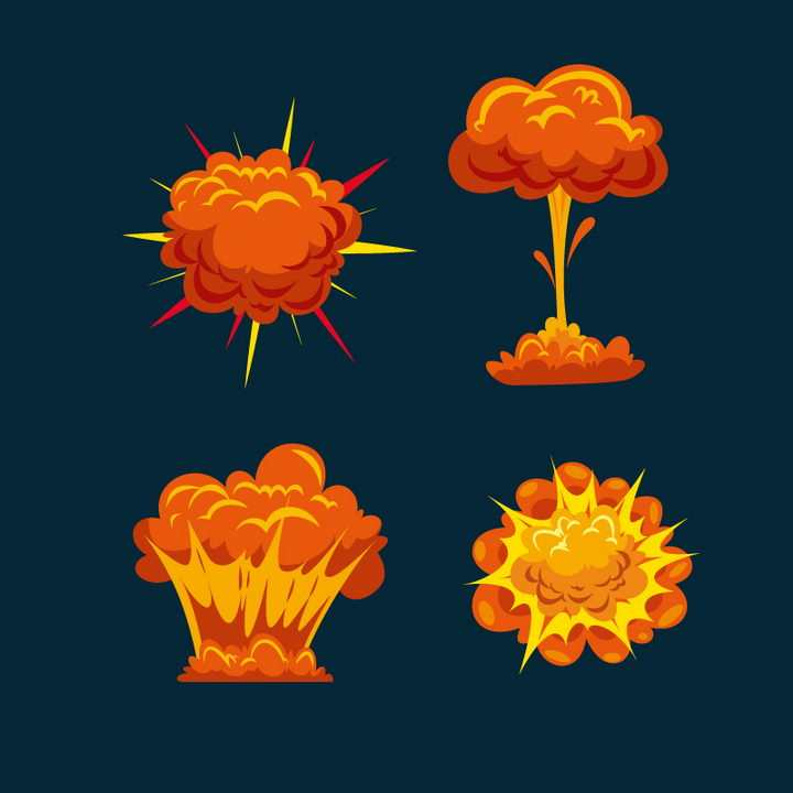 红色橙色漫画爆炸效果蘑菇云图片免抠素材