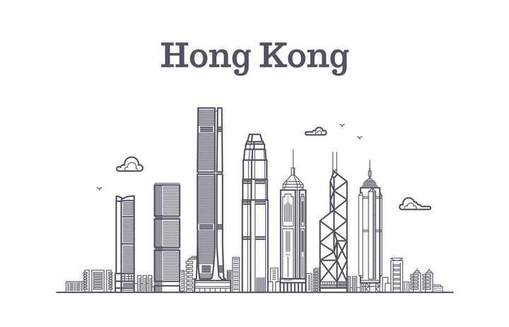 灰色线条风格香港标志城市建筑天际线图片免抠矢量图素材