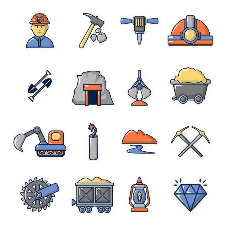 16款卡通风格挖矿煤矿铁矿开采图标图片免抠矢量素材