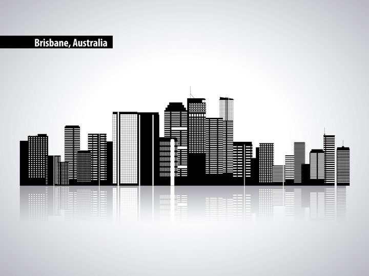 黑白色组成的城市建筑天际线倒影图片免抠矢量图素材
