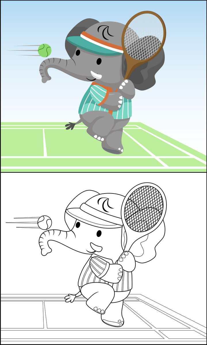 正在打网球的卡通大象简笔画图片免抠素材