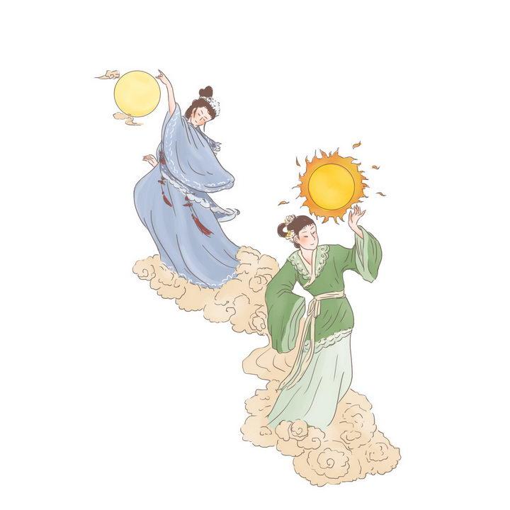 羲和常羲中国传统神话人物传说故事手绘彩色插图图片免抠png素材 教育文化-第1张