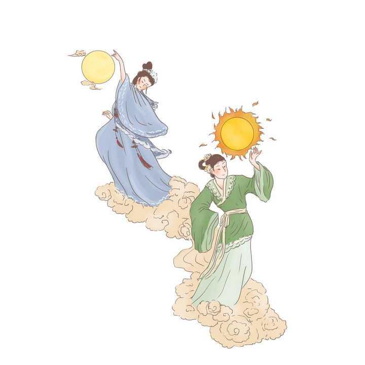 羲和常羲中国传统神话人物传说故事手绘彩色插图图片免抠png素材