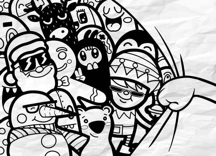 创意手绘风格拉开纸张后面的卡通人物图片免抠矢量素材