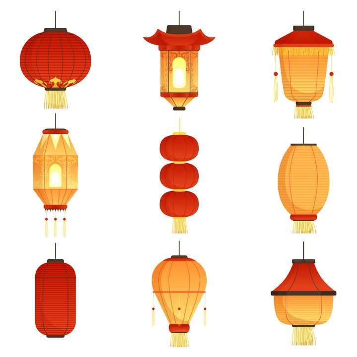 9款各种不同款式的中国传统节日灯笼图片免抠矢量素材