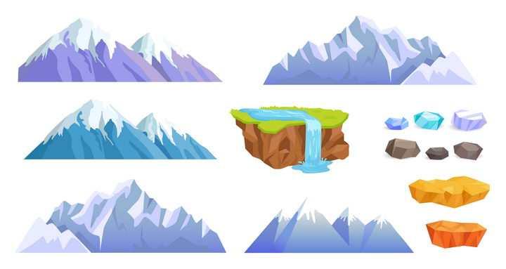 高大的雪山大山高山瀑布和石头图片免抠矢量素材