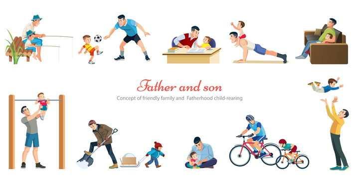 钓鱼踢足球做作业看电视骑自行车等父子亲子游戏免抠矢量图素材