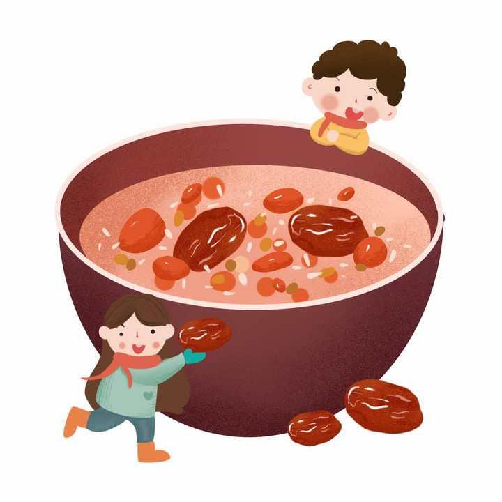 可爱卡通彩绘红枣腊八粥八宝粥养生粥腊八节传统美食图片免抠png素材
