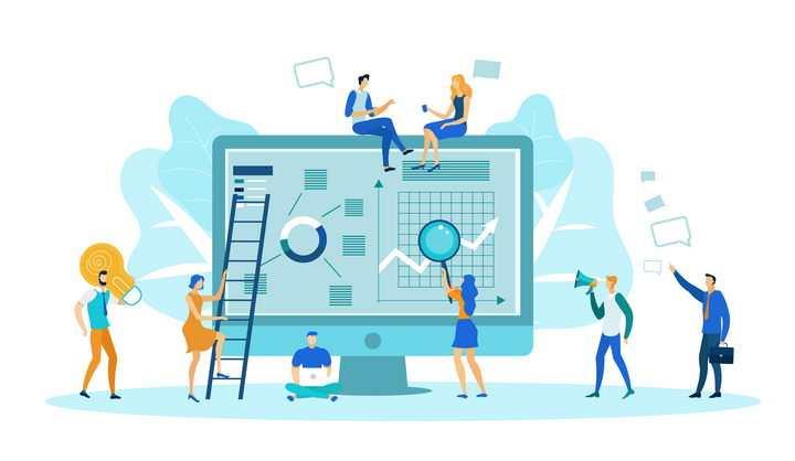 抽象扁平化风格正在电脑上分析数据的商务人士职场配图图片免抠素材