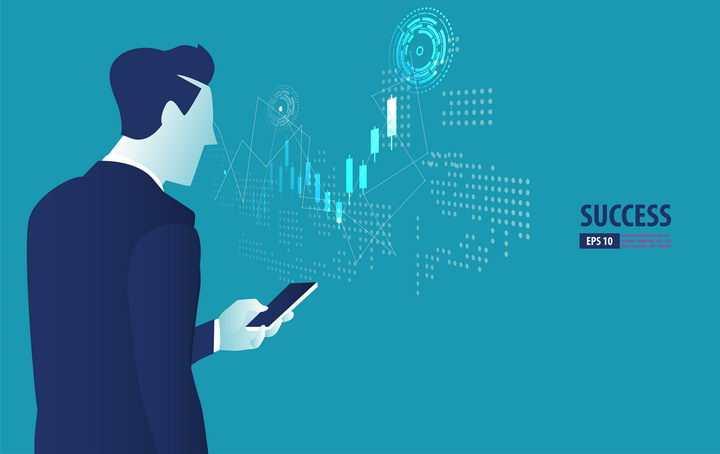 正在手机上查看数据的商务人士图片免抠矢量素材