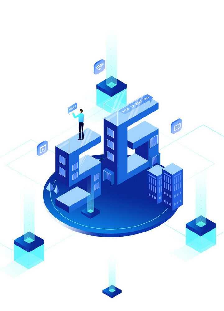 蓝色立方体5G通信技术构成的大厦图片免抠png素材