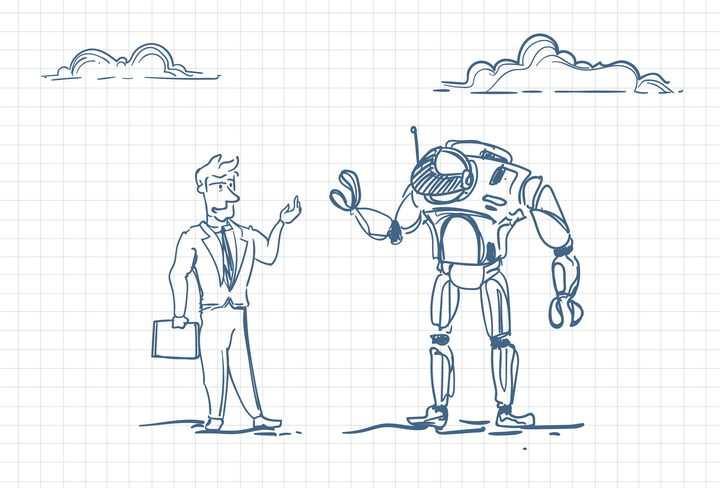 圆珠笔画涂鸦风格跟机器人打招呼职场人际交往配图图片免抠矢量素材