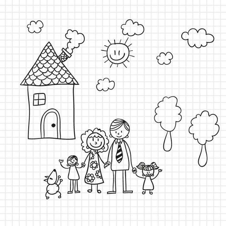 幸福的一家人爸爸妈妈姐姐妹妹还有房子简笔画儿童绘画图片免抠矢量素材