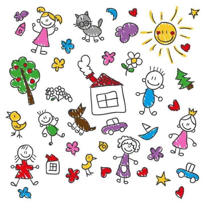 各种彩色涂鸦风格手绘儿童画简笔画图片免抠矢量素材