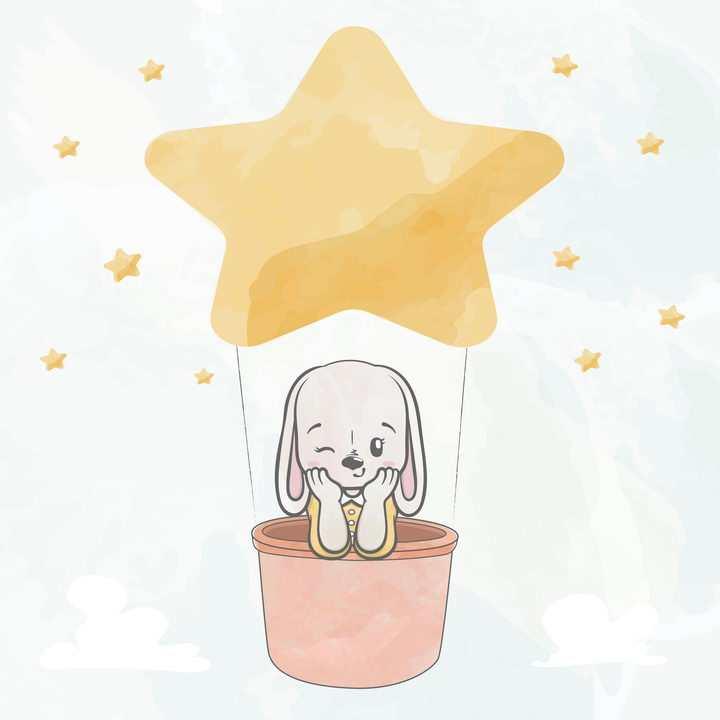 手绘风格坐在星星气球里的卡通小狗图片免抠矢量素材
