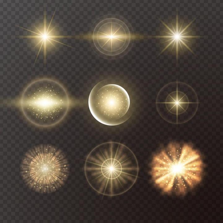 9款金色星光光晕发光效果图片免抠矢量图素材 效果元素-第1张